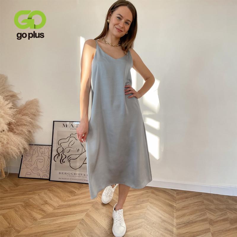 GOPLUS Women's Dress Satin Sling Strap Dresses Sexy Summer Backless Dress 2021 Ropa Mujer Sukienki Letnie Robe Femme Vestidos