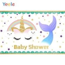 Yeele Unicorn Backdrop Mermaid Newborn Baby Shower Kids Birthday Party Custom Photography Background Vinyl For Photo Studio 7x5ft purple unicorn newborn baby shower custom photo studio backdrops background polyester 220x150cm