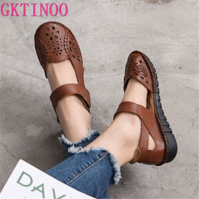 GKTINOO Hollow Genuine Leather Breathable Soft Flat Sandals Summer Women Shoes Woman Casual Solid Buckle Strap Ladies Sandals