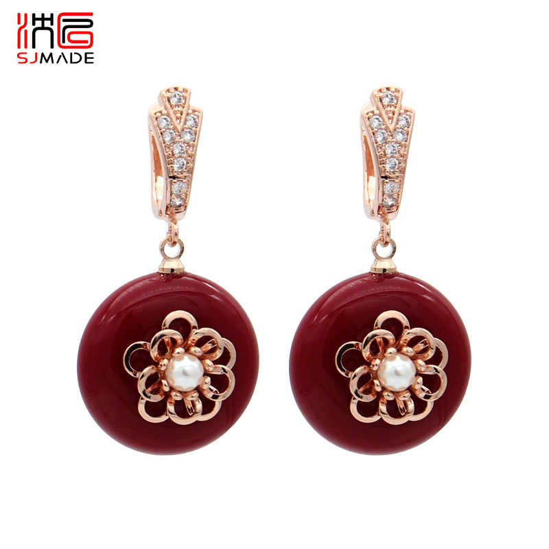 SJMADE Chinese style Big Round Oxblood Red Acrylic Dangle Earrings Temperament 585 Rose Gold 2019 Fashion Women Wedding Jewelry