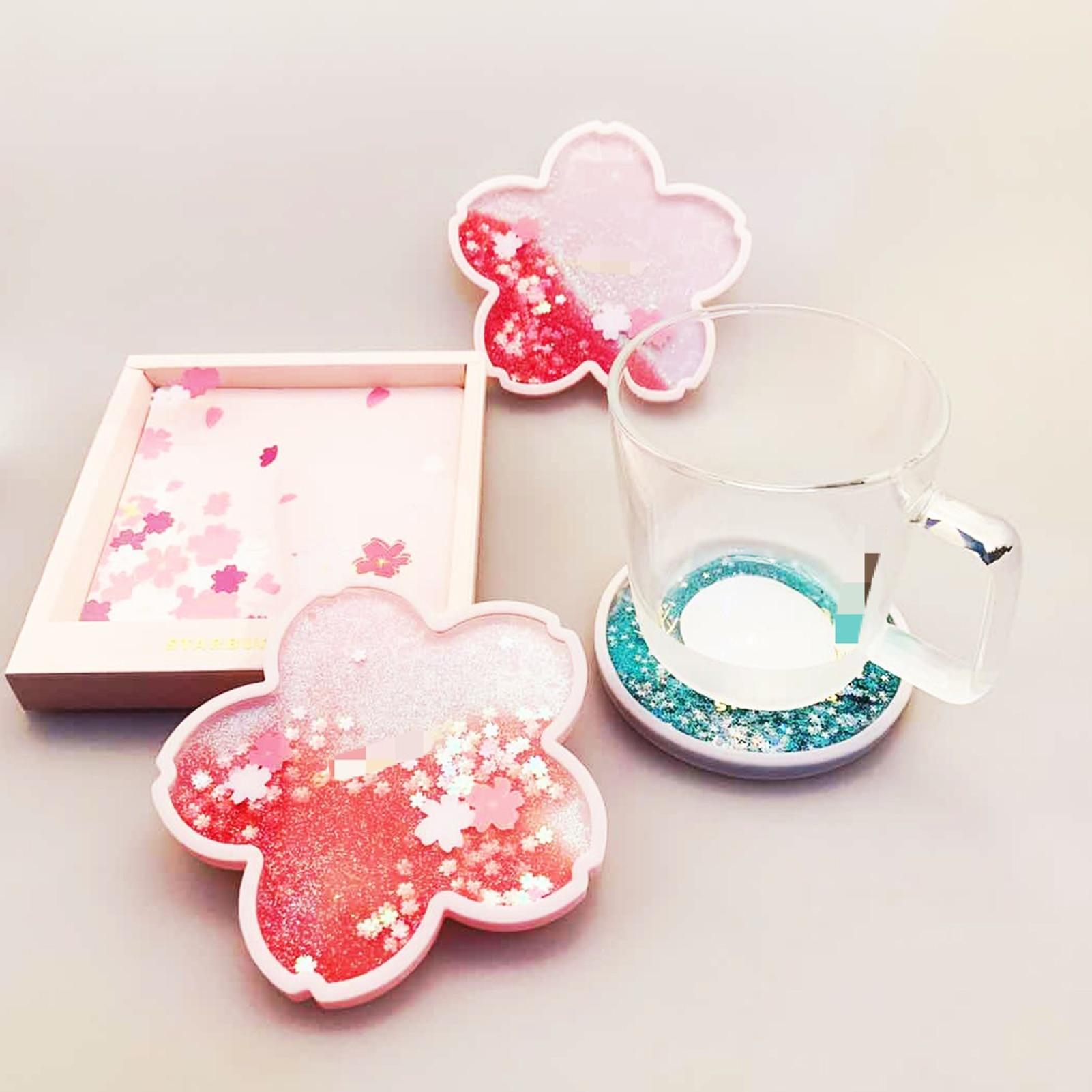 Glittery Sakura Quicksand Drink Mat 6