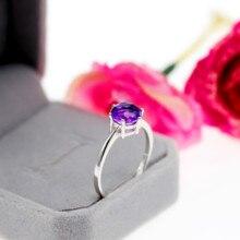 US STOCK Uloveido Amethyst Solitaire Ring, 925 Sterling Silver, 8*8mm Certified Purple Gemstone Wedding Jewelry Women FJ201