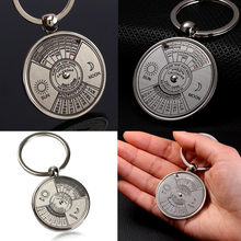 Créatif Mini commémoratif perpétuel calendrier porte-clés anneau Unique métal porte-clés soleil lune sculpture cadeau parfait 2010 à 2060