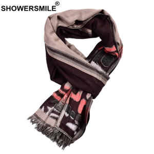 SHOWERSMILE Men Scarf Geometric-Print Long Cotton for Male Winter 195cm--65cm British-Style