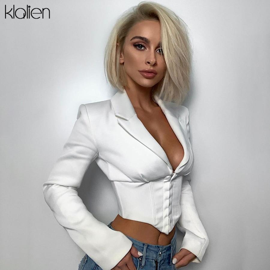 KLALIEN Sexy Low Cut Fehlschlag Einreiher V-ausschnitt Nabel Bare Langarm Shirts 2019 Büro Dame weiß Elegante Cropped tops Neue