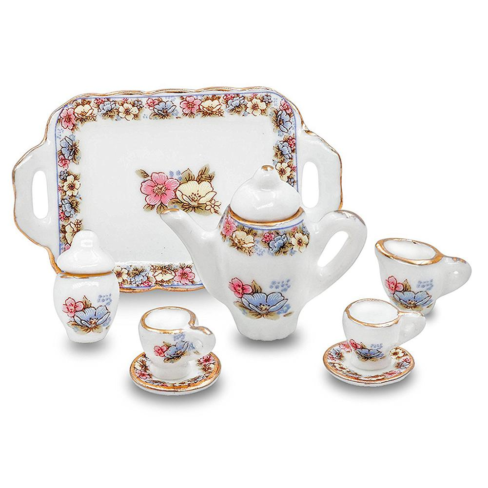 1/12 Dollhouse Tableware Porcelain Miniature Tea Cup Sets Mini Teapots Coffee Plate Play Kitchen Dining Ware Toy