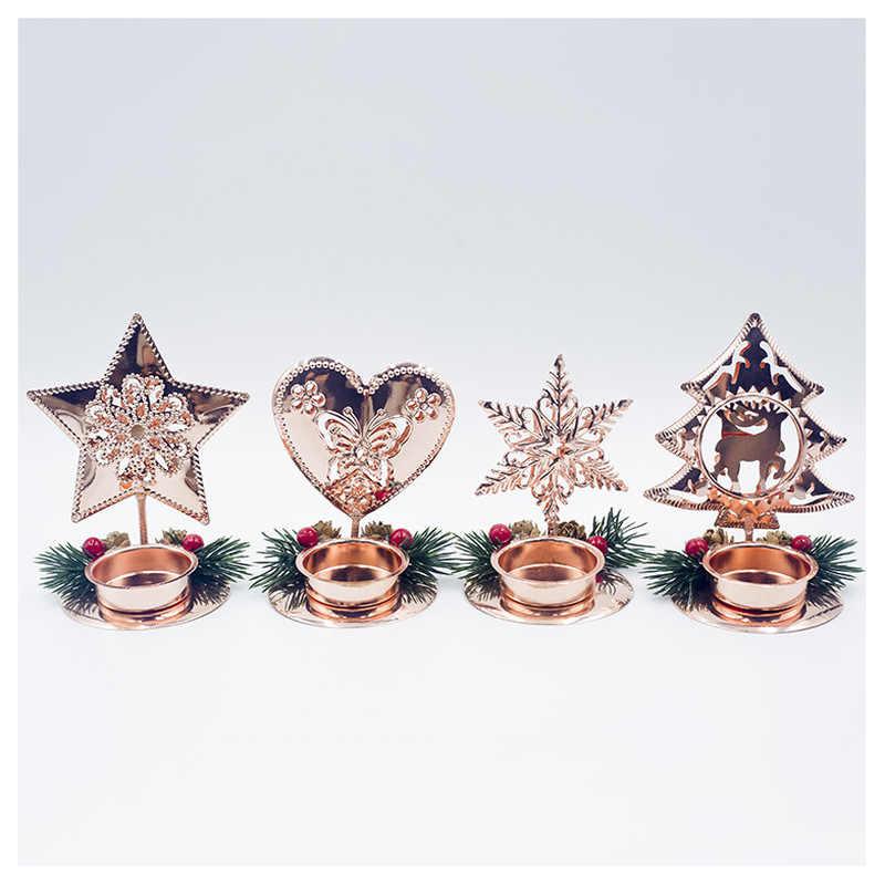I Titolari di Candela di natale Albero Di Natale del Fiocco di Neve Candeliere Decorazione Desktop di Capodanno Craft Regalo di Festival Del Partito Forniture