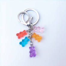 Candy Resin Multicolors  Lovely Bear keychain for Door Car Charm Dangle Pendant Cute Girl Dangle Jewelry Gift