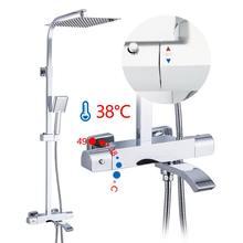 GAPPO prysznic termostatyczny zestawy prysznic kran do łazienki mieszacz ciepła/zimna mosiężny kran do wanny i prysznica system prysznic wodospad