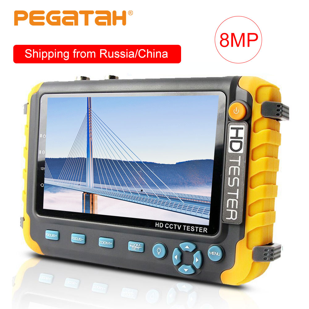 8MP 5 Inch CCTV Tester Camera Ahd Ip Video Camera Tester Mini Ahd Monitor Support 4 In 1 VGA HDMI Input UTP Cable Testing