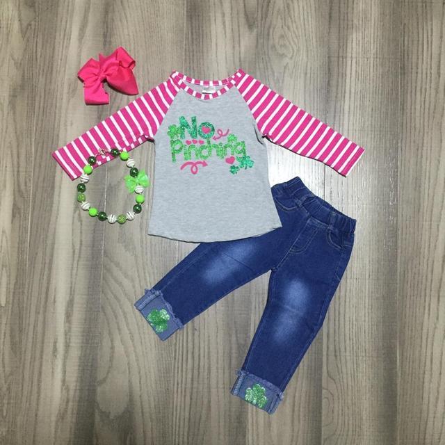 طفل عيد القديس باتريك الأخضر الوردي شريط لا معسر شامروك الزي الفتيات الربيع جينز قطني السراويل الملابس مباراة الملحقات