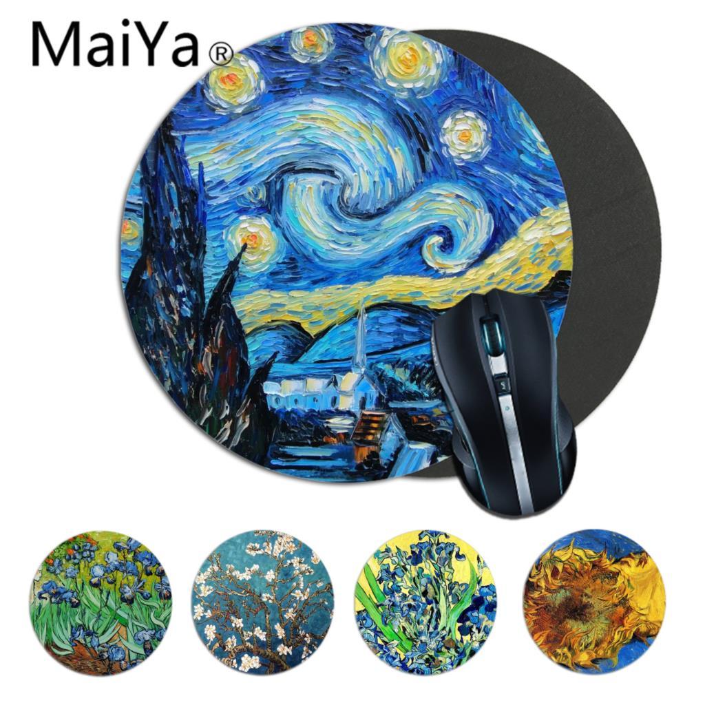 MaiYaCa Simple Design Van Gogh Starry Night Art Speed Small Rubber Mousepad Anti-Slip Laptop PC Mice Pad Mat Gaming Mousepad