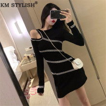 Womens Vestidos Long Sleeve Black One-piece Dress Autumn Sexy Lady Leaky Shoulder Rivet see through sexi Slim Bag Hip