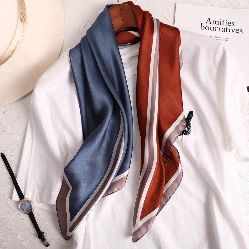 Fashion Patchwork Kerchief Silk Neck Scarf For Women Small Satin Shawls And Wraps Head Scarfs Female 70*70cm Scarves For Ladies