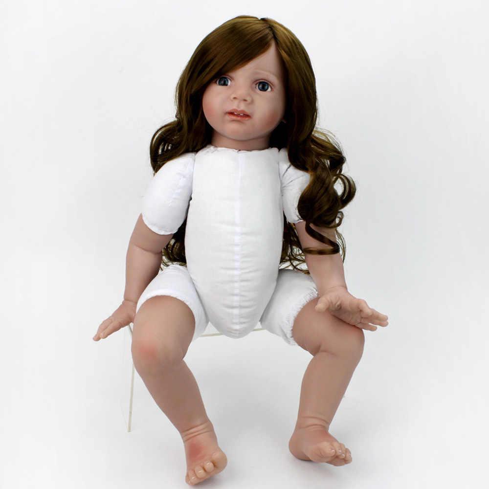 24 ''60 سنتيمتر سيليكون تولد من جديد الطفل دمية القماش الجسم الفينيل الناعم فتاة واقعية الأميرة الطفل الدمى الاطفال عيد الميلاد عيد الميلاد هدية الشعر الطويل