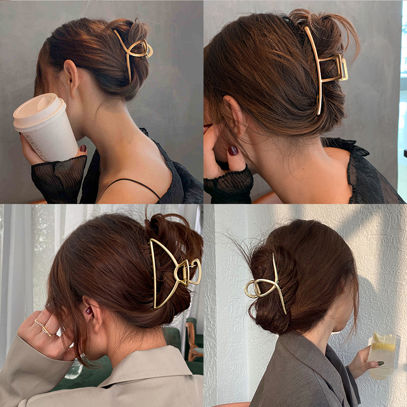 Headband Hairpin Hair-Accessories Geometric Metal Gold Elegant Vintage Hollow Fashion