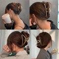 2021 новые женские элегантные золотые, серебряные, Полые Геометрический металлический коготь волос Винтаж заколки для волос головная повязк...