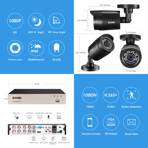 Image 2 - ZOSI 8CH CCTV System H.265+ HD TVI DVR kit 8 1080p Home Security Waterproof Outdoor Night Vision Camera Video Surveillance Kit