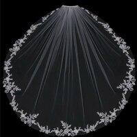 Short White Ivory 1T Bridal Wedding Veils Appliques Bridal Veil With Comb