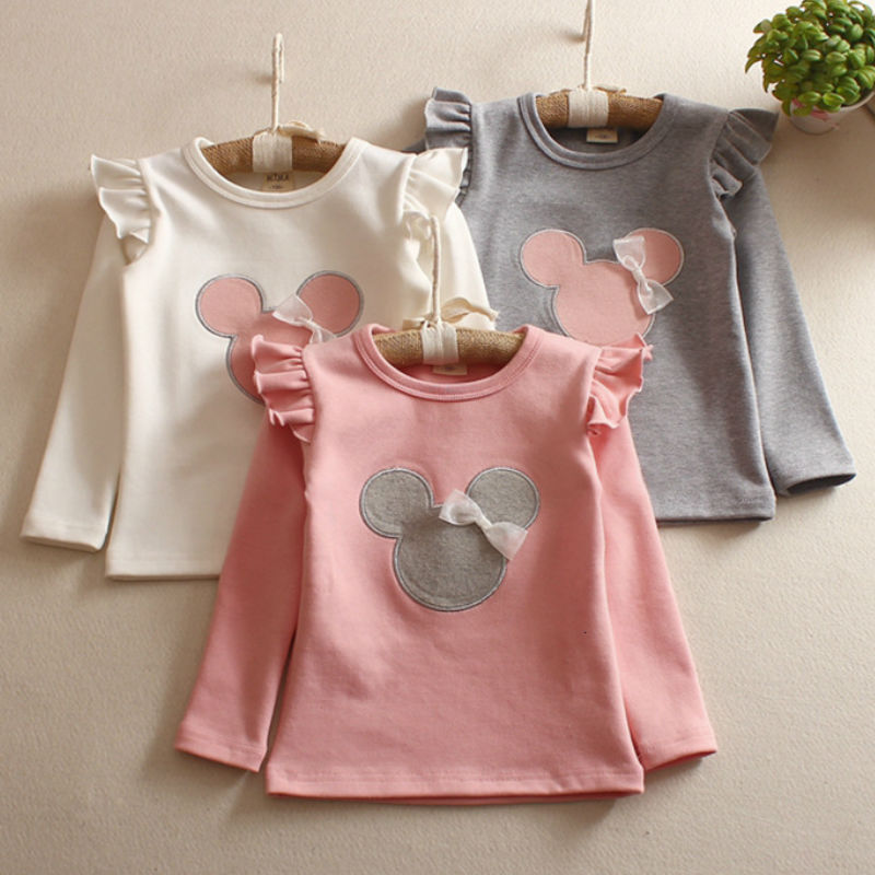 T-Shirt Spring Girls'long-Sleeve Bottoming Children's Summer And Autumn Cartoon title=