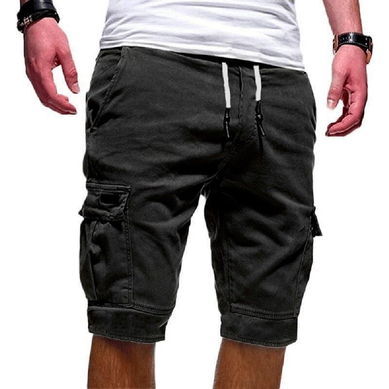 DIHOPE 2020 Hot Summer Casual Shorts Men's  Cargo Multi-pocket Shorts Mens Solid Color Drawstring Fashion Shorts Streetwear