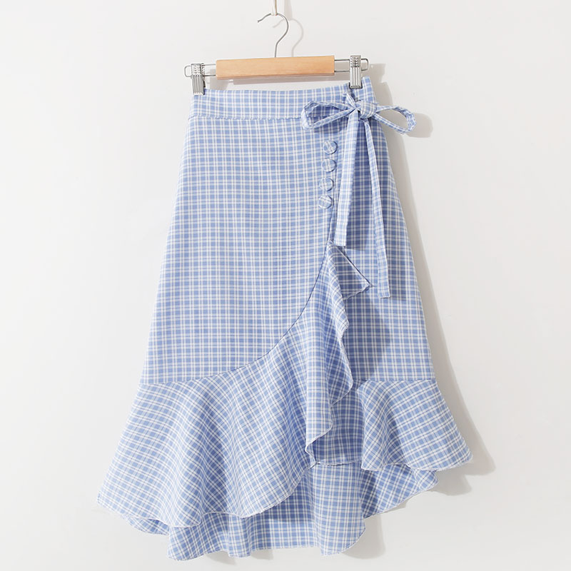2019 Spring Autumn New Arrival Bow Tie Skirt Plaid High Waist Chic Long Skirt  Irregular Long A-line Skirt