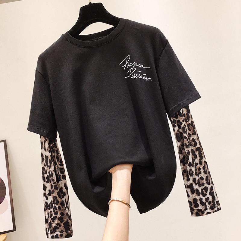 Leopard-Print Long-Sleeve Fleece-Lined T-shirt Women's 2020 Spring New Korean-Style Printed T-shirt T Shirt Woman Long Sleeve T