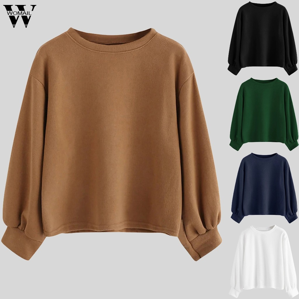 Womail Sweatshirts winter Fashion lightweight soft Solid sweatshirt O-Neck Easy Loose comfortable sweatshirts pullover