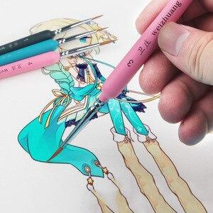 Image 3 - 10Pcs וו קו צבע מברשות וולף שיער בצבעי מים מברשת אמן בסדר שמן מכחול עבור אמנות גואש ספר מכתבים