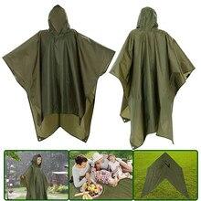 3 In 1 Rain Coat Poncho Mat Awning Multifunctional Portable Hiking Camping Raincoat Outdoors Hiking Rain Gear Outdoor Supplies