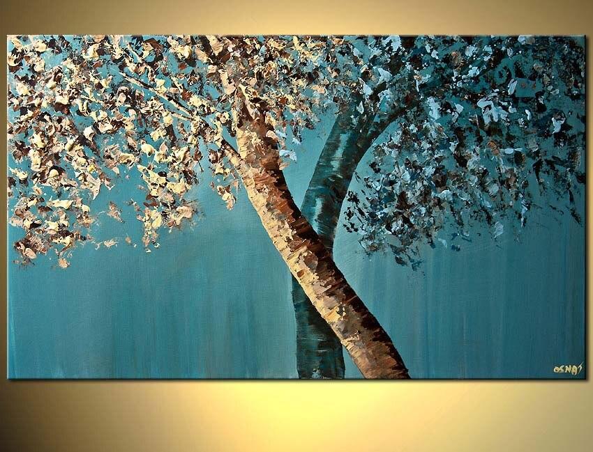 Toile de peinture peinte à la main | Palette couteau Texture peinture à l'huile, peintures d'artistes contemporains, arbre mur Art toile idées de peinture 100%