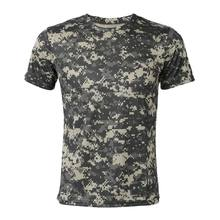 New Outdoor Hunting Camouflage T-shirt Men Breathable Combat T Shirt Dry Sport Camo Camp Tees-ACU Green XL(China)