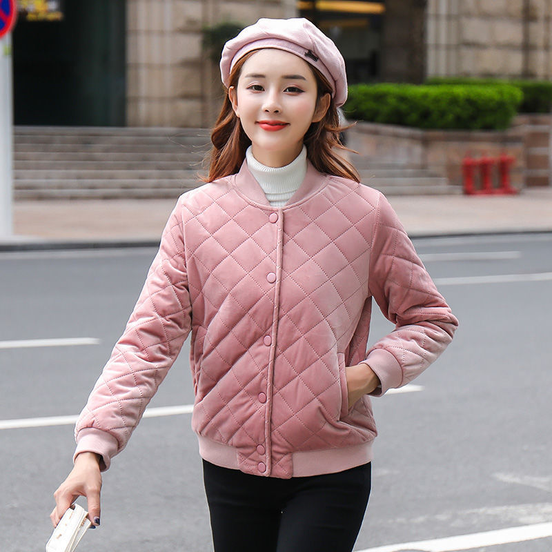 Женская бейсбольная форма в Корейском стиле, короткая куртка из золотого бархата и хлопка в стиле Харадзюку, новинка зимы 2019
