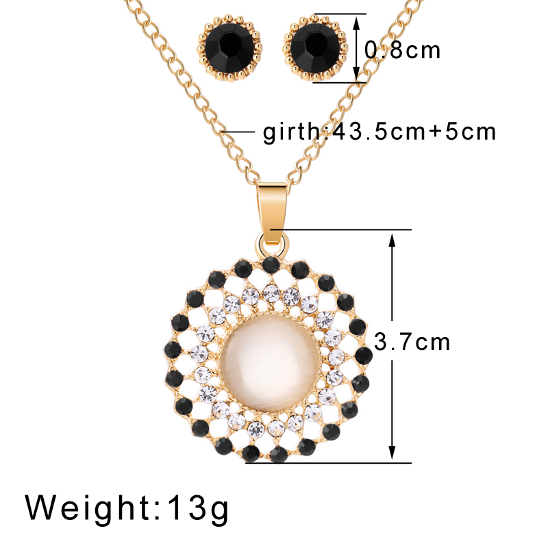 Exquisite Gold Color Bridal Jewelry Sets Bling Austrian Crystal Opal Stone Pendant Necklaces Earrings Wedding Accessory Gifts 5