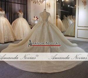 Image 3 - Роскошное бальное платье Дубая с длинным рукавом и длинным шлейфом, индивидуальный заказ, свадебное платье