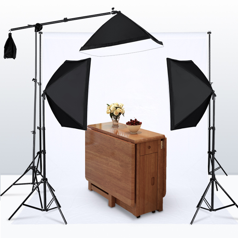 Photography Studio Softbox Lighting Kit with 3 X 5500K Bulbs Arm Holder Photo Video Continuous Soft Box Lighting Set for YouTube 2