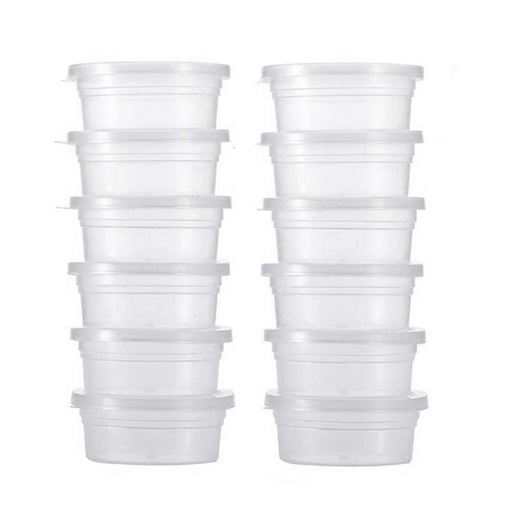 12 Pc Slime Storage Container Box Clear Plastic Foam Ball Storage Cup with Lids Small <font><b>Beads</b></font> Ball Holder Case# image