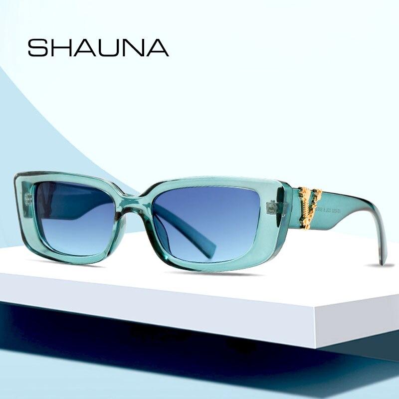 SHAUNA Retro Small Rectangle Sunglasses Candy Colors Gradient Sun Glasses Shades UV400