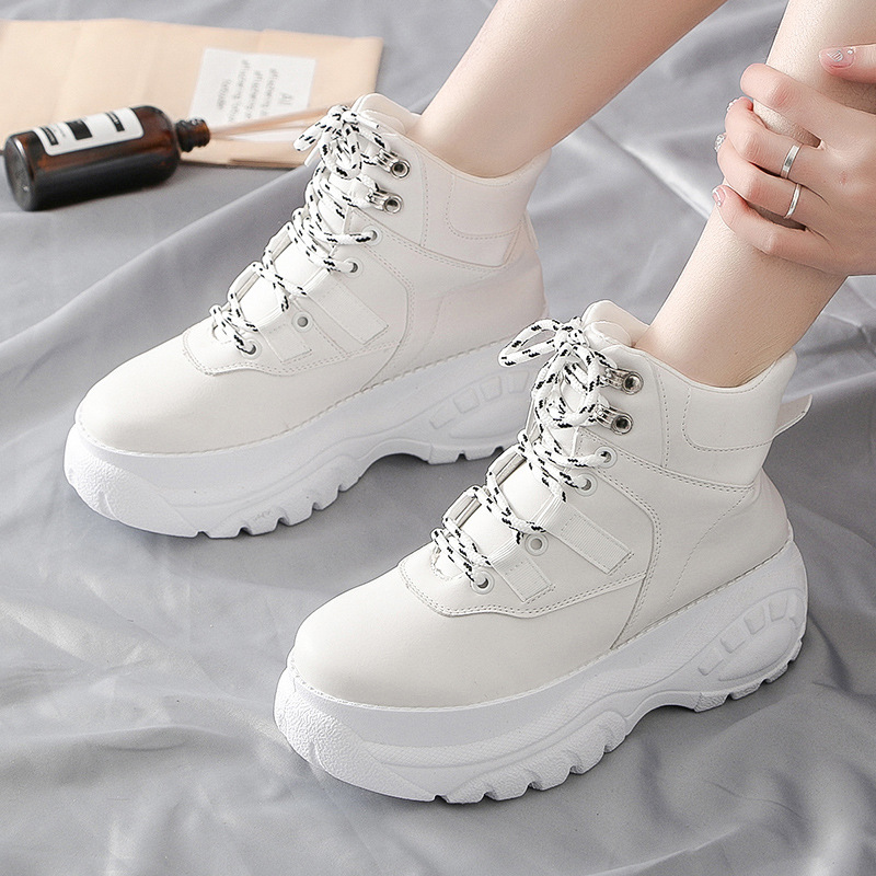 Women's Sports Shoes Spring 2019 Tide Korean Version Of Running Shoes Platform Women's Solid Color Small White Shoes ZZ-132