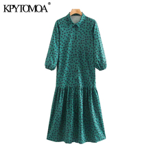 KPYTOMOA Women 2020 Chic Fashion Floral Print Ruffled Midi Dress Vintage Three Q