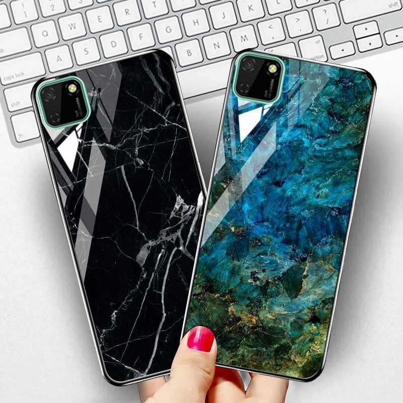 Étui en pierre de marbre pour Huawei Honor 9S étui de luxe en verre trempé pare-chocs de protection Huawei Y5p Honor9S housse de DUA-LX9 Fundas
