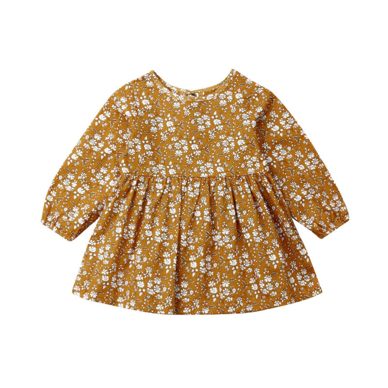6M-4Years Toddler Newborn Baby Girl Floral Dress Long Sleeve Vintage Tutu Dresses For Girl Flower Costumes Autumn Spring Clothes
