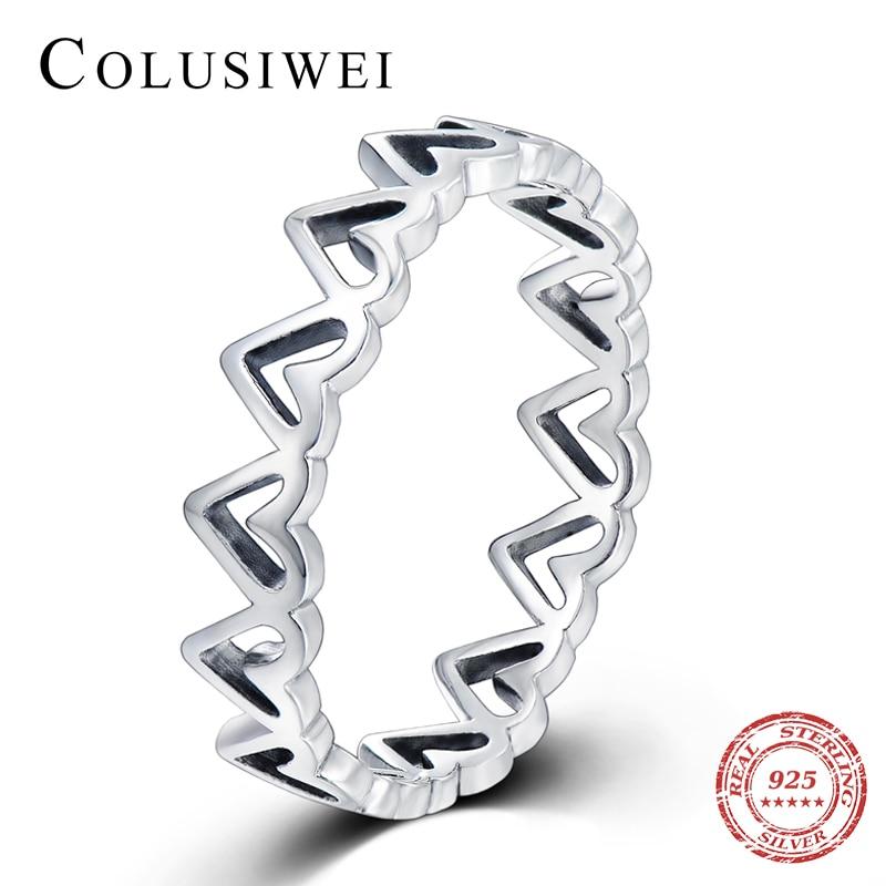 Colusiwei Real 925 Sterling Silver Forever Love Irregular Heart Finger Ring Original Jewelry Gift GLOBAL SHOPPING FESTIVAL 2020