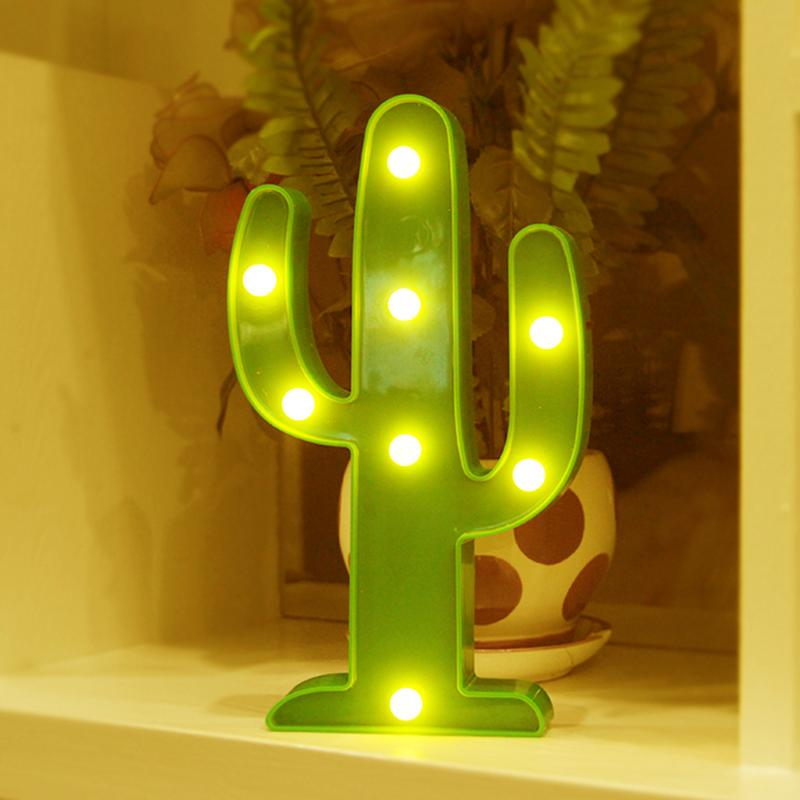 3D LED Night Light Cactus Light Romantic Table Lamp Marble Home Christmas