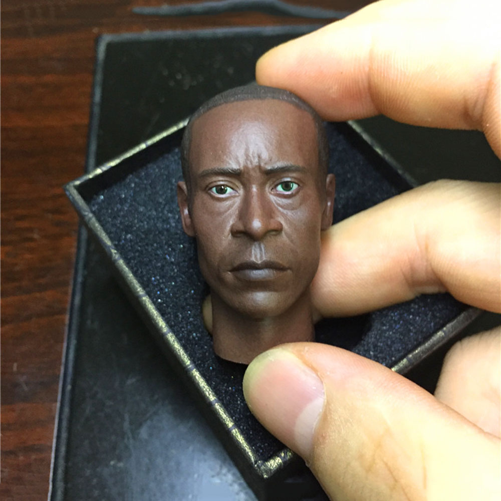 In Stock 1/6 Scale Male Head Sculpt Don Cheadle Black Skin Head Carved Model with Beard Tattoo for 12'' Strong Man Figure