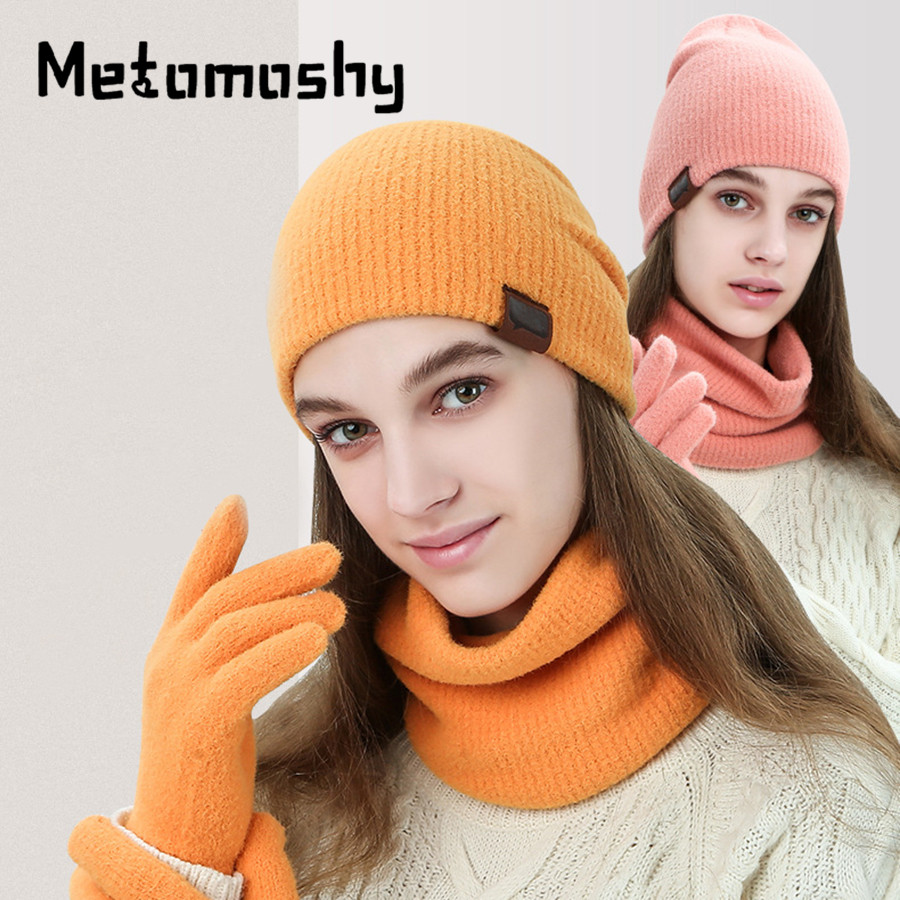 2019 New  Winter Hats Scarf Gloves Set For Women Men Thick Cotton Winter Accessories Set 3 Piece Female Male Beanie Scarf Gloves