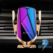 Support pour téléphone de voiture de serrage automatique 10W chargeur de voiture sans fil capteur infrarouge Qi support pour voiture
