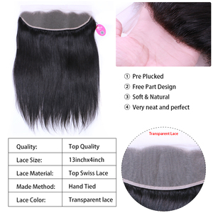 Image 4 - Queen Hair Products Brazilian Virgin Straight 13x4 Transparent Lace Frontal Closure 100% Human Hair Medium Brown Swiss Lace
