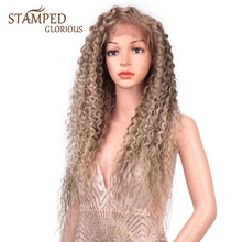 Stamped Glorious Ombre Brown Blonde Curly Wig Side Part Synthetic Lace Front Wig For Women Heat Resistant Fiber Long Lace Wig fluffy curly heat resistant synthetic long lace front wig