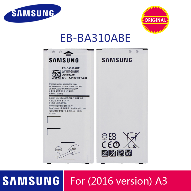 SAMSUNG Original Phone Battery EB-BA310ABE 2300mAh For Samsung Galaxy A3 2016 A310 A310F A310M A310Y Replacement Batteries